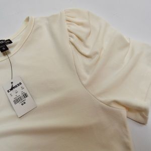 Express Tops - Express Ivory Puff Cap Sleeve Crewneck Blouse M